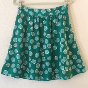 The Limited Green and Light Blue Dot Print Skirt